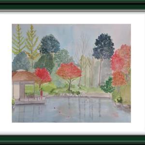 柏の葉公園の秋を描く