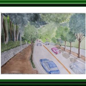 増尾城址公園の坂道を描く