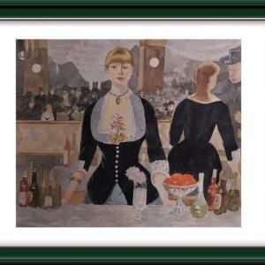 エドゥアール・マネの「フォーリー・ベルジュールのバー」を水彩で臨画