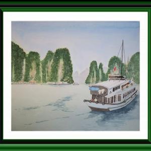 ヴェトナムのハロン湾を水彩で描く