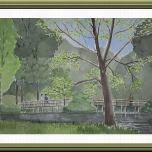 市川市大町公園の池を描く