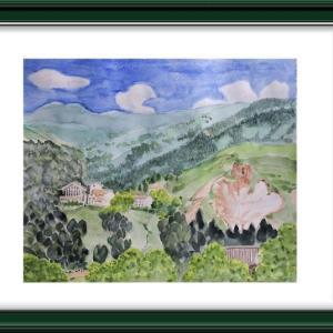 「万座高原の朝」を描く