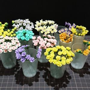 樹脂粘土のバラの花&ポトス