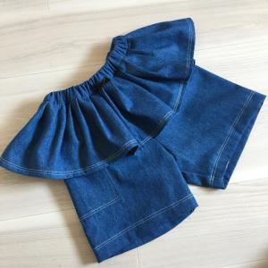 【サイズ130】6オンスデニムでフリル付きショートパンツ