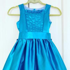 【サイズ130】青いシャンタン生地でコードキルティングをはめたドレス