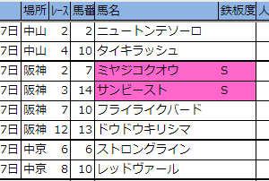 明日の新偏差値表・厳選軸馬【中山・阪神・中京】2019 12/7(土)