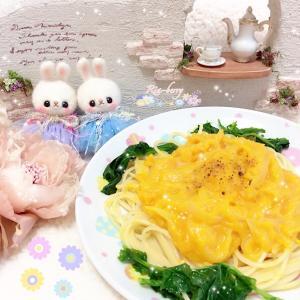 菜の花とかぼちゃのパスタ☆双子うさぎ☆ぬい撮り