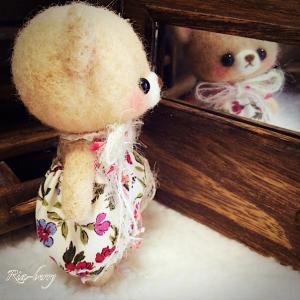 鏡チェックくまさん☆羊毛フェルトマスコット