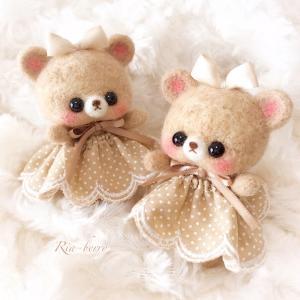 双子のこぐまメル☆ベージュ水玉☆羊毛マスコット