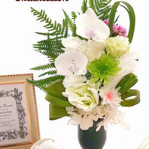 生徒様作品♪お彼岸のお供え花に…胡蝶蘭を使ったオーダーレッスン