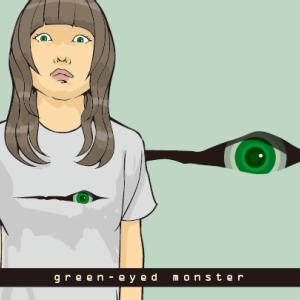 緑の目とTシャツ