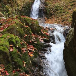岩の狭間を流れる下流の小滝