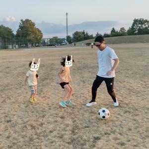 サッカー練習と、思いがけずの花火♪