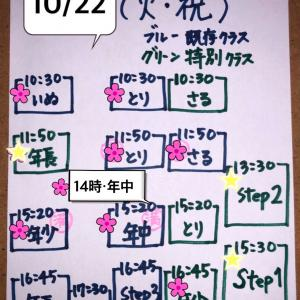 10/22(火・祝)クラス状況