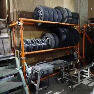 タイヤラックの棚組変更