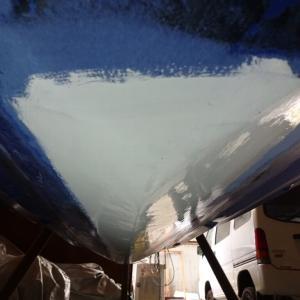 4TECの船底補修(ゲルコート塗装)と冷温蔵庫の準備
