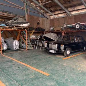 保管場所の壁補修と駐車ライン引きとエスティマHVのホイルスペーサー取り外し