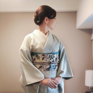 『大大阪キモノめーかんえぽっく』☆1日目は薄緑の紬とレースの羽織で