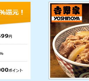 【吉野家の牛丼】30食セットが代金31%割引(1食284円)と1,000円還元の特典付き【ハピタス】