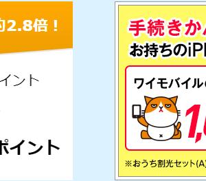 【公式Y!mobile】ワイモバイル回線契約で6300円、5000ANAマイルがもらえる(8/8まで限定)