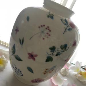 ポーセラーツ:焼成ご依頼作品★大きめの花瓶にアレンジ