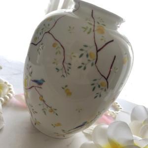 ポーセラーツ:焼成ご依頼作品★爽やかなレモンツリーの花瓶★