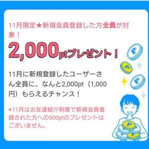 今月中に登録、条件クリアで1000円のお小遣い~!