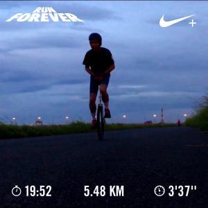 20190830雨の一輪車イヴニングラン