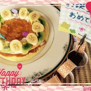41♡久しぶりのレシピ!おうちにある材料で♪「生クリームのかわりに。。!?」ヘルシー盛りパンケーキでお祝い☆お子様、お年寄りにも!