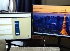 PCはモニター二台体制にしました