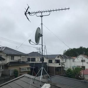 小雨の中、UHF八木式、デザインアンテナ工事