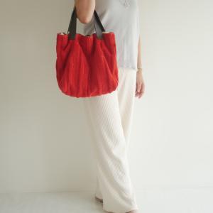 ニット×ニットとパイル素材ハンドメイドファッション