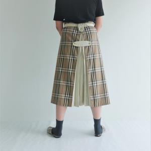トレンチコートアップサイクル巻きスカート着画