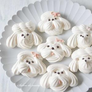 余った卵白で、犬のメレンゲクッキー♡