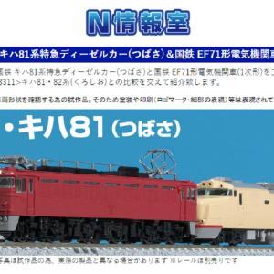 【TOMIX】N情報室更新 国鉄 キハ81系特急ディーゼルカー(つばさ)&国鉄 EF71形電気機関車(1次形)VOL.1 第259号掲載