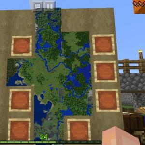 マイクラ 地図をつなげて大きな地図案内板を拠点に設置!