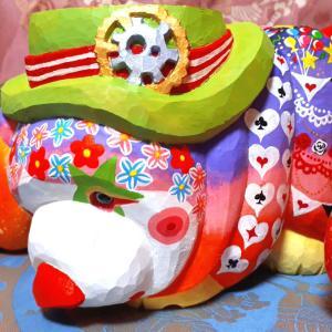 恋くま ハイカラ熊のサーカス2を完成しました。木彫工房もくもっこり
