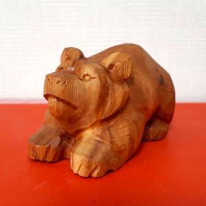 【Sold out】木彫り熊 イチイ(オンコ)上向き熊(小)三作目