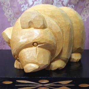 【Sold out】木彫り熊 米ヒバ 恋くま 這熊 をUPしました。
