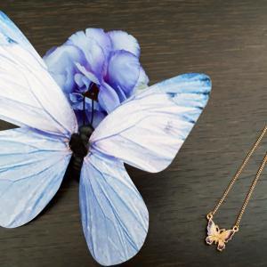 オウン・ピーさんの綺麗な模様の羽の小さな蝶(バタフライ)のネックレスとマグネット(口コミ・感想)