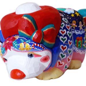 【江古田の和雑貨・環にて出品中】恋くま ハイカラ熊のちゃあむを完成しました。木彫工房もくもっこり