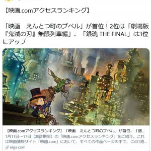 西野亮廣さん「鬼滅を抜いて1位になった。まだまだ頑張る!」えんとつ町のプペルが『映画.com』のアクセスランキングで首位に