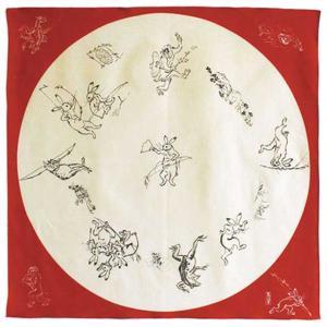 鳥獣人物戯画、綿シャンタン風呂敷・68cm角。鳥獣人物戯画は、国宝で京都市右京区の高山寺に伝わる紙本墨画の絵巻物です。