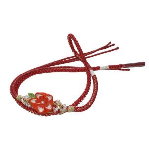 振袖用の帯締め 飾り付き太組紐