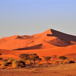 朝日に染まるアプリコット色の砂丘が美しいソススフレイへ