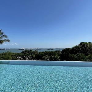 シンガポール海峡を望むアマラ サンクチュアリ リゾート セントーサのインフィニティ プール