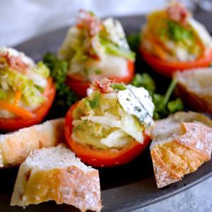 誰でも同じに作れる!白菜漬とゴルゴンゾーラのトマトカップ~トーストを添えて~