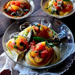 オイルサーディン❤和イタリアンそうめん #冷凍トマト #そうめん #いわし #簡単