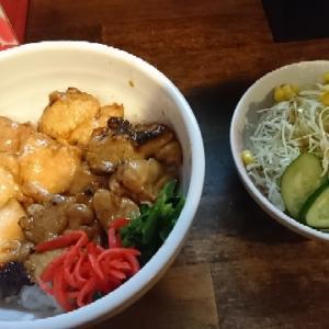 新橋 馳 焼き鳥丼とハーフ水炊きラーメン