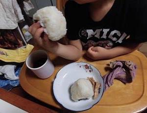 朝は麦飯お握り、夕食は麦飯ゴマ塩ご飯